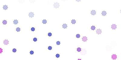 patrón rosa claro, azul con copos de nieve de colores