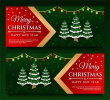 Merry Christmas and Happy New Year Banner template vector