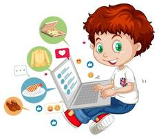 niños con elementos de redes sociales sobre fondo blanco