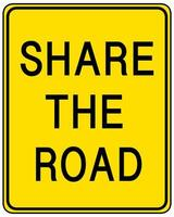 Share the road yellow sign on white background