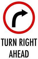 Gire a la derecha signo sobre fondo blanco.