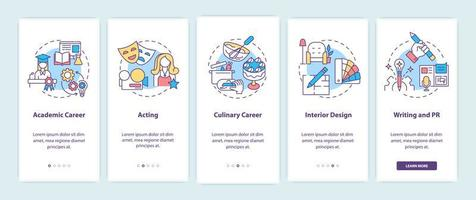 Top careers for creative thinkers onboarding mobile app vector
