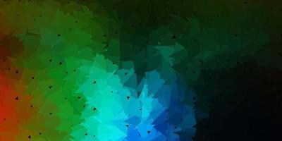 Dark multicolor abstract triangle backdrop.