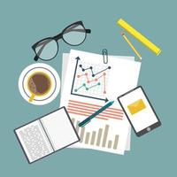 Auditing concept background with office objects