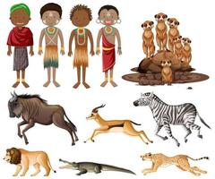 Set of people of African tribes and wild animals