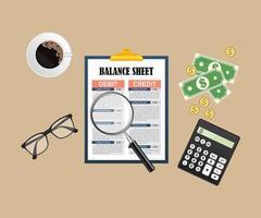 Fondo de concepto de auditoría con objetos de oficina