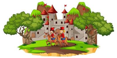 Fairytale scene with castle and soldier royal guard on white background