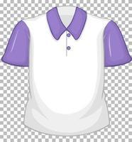 camisa blanca en blanco con mangas cortas moradas en transparente vector