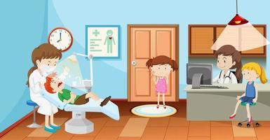 Kids in dental clinic with dentist scene vector