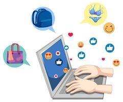Posting on social media with social media icon vector