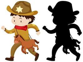 niño en traje de vaquero en color y silueta vector