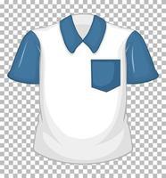 Camisa blanca en blanco con mangas cortas azul aislado sobre fondo transparente