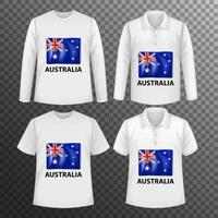 Set of different male shirts with Australia flag screen on shirts isolated vector