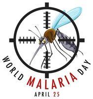 logotipo del día mundial de la malaria o pancarta con letrero de mosquito
