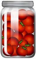 tomates en el frasco de vidrio vector