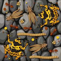 Set of different insects isolated on stones texture vector