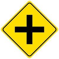 Señal de intersección de 4 vías aislado sobre fondo blanco.