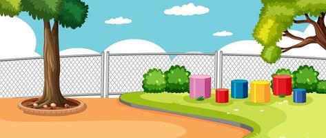 parque o patio de recreo en la escena de la escuela con cielo en blanco