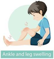 personaje de dibujos animados con síntomas de hinchazón de tobillos y piernas vector