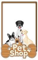 pancartas en blanco con lindo perro y logotipo de la tienda de mascotas aislado sobre fondo blanco vector