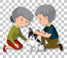 Pareja de ancianos con sus perros de compañía aislados sobre fondo transparente vector