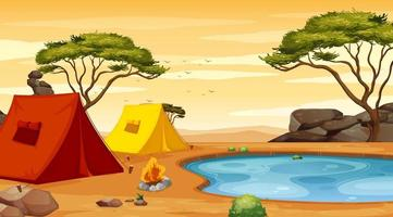 Background scene with tents on the ground vector