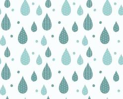 Seamless pattern with rain drops and line drawings