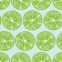 rodajas de limón con sombra sobre fondo verde brillante. vector