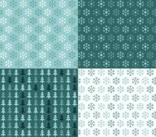 cuatro patrones navideños sin fisuras con copos de nieve y árboles vector