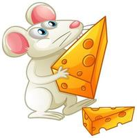 A white mouse eating cheese on white background