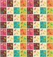 Seamless patterns with Christmas reindeers and snowflakes vector