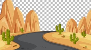 Escena del desierto de naturaleza en blanco con paisaje de largo camino sobre fondo transparente