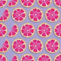 fruta de patrones sin fisuras, rodajas de pomelo con sombra vector