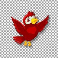personaje de dibujos animados lindo pájaro rojo