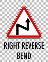 Right reverse bend sign isolated on transparent background