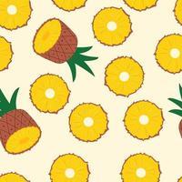 mitades y rodajas de piña sobre fondo amarillo claro. vector