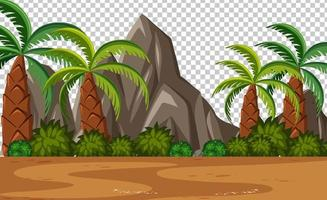 Blank nature park scene with palm trees landscape on transparent background