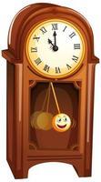 Reloj de madera vintage en personaje de dibujos animados aislado sobre fondo blanco.