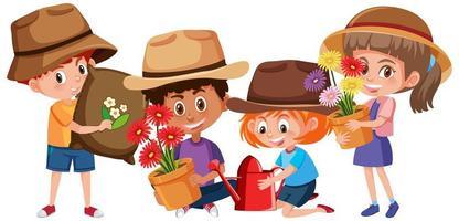 Conjunto de diferentes niños con herramientas de jardinería personaje de dibujos animados aislado sobre fondo blanco.