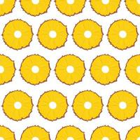 fruta de patrones sin fisuras, rodajas de piña sobre fondo blanco. vector