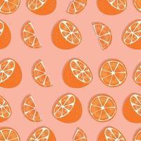 fruta de patrones sin fisuras, mitades de naranja y rodajas vector
