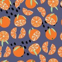 fruta de patrones sin fisuras, naranjas con hojas vector