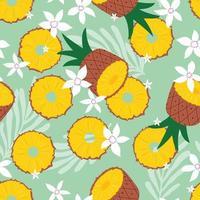 fruta de patrones sin fisuras, piña con hojas tropicales vector