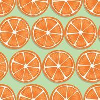 fruta de patrones sin fisuras, rodajas de naranja con sombra vector