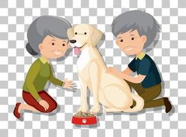 Pareja de ancianos con su mascota aislado sobre fondo transparente vector
