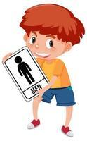Boy holding toilet sign isolated on white background