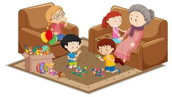 Abuela con nietos con elementos de muebles de sala sobre fondo blanco. vector