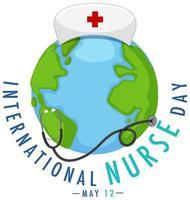 logotipo del día internacional de la enfermera con gran mundo y estetoscopio
