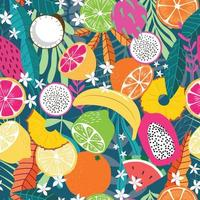 Fruit seamless pattern, collection of exotic tropical fruits