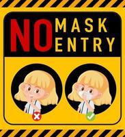 No mask no entry warning sign with cartoon character
